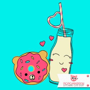 BFF Donut + Milk Spot Illustration