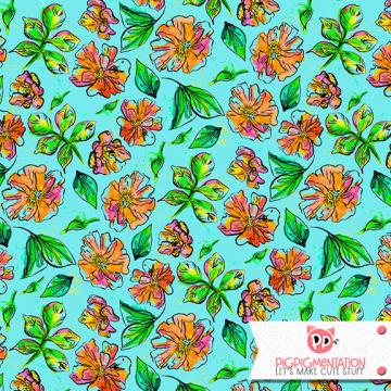 Watercolor Florals Half Drop