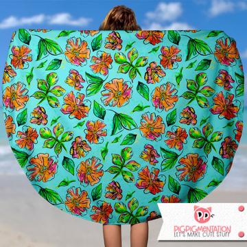 Watercolor Florals Beach Blanket Mock Up