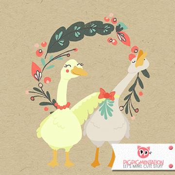 Merry KISSmas Greeting Illustration